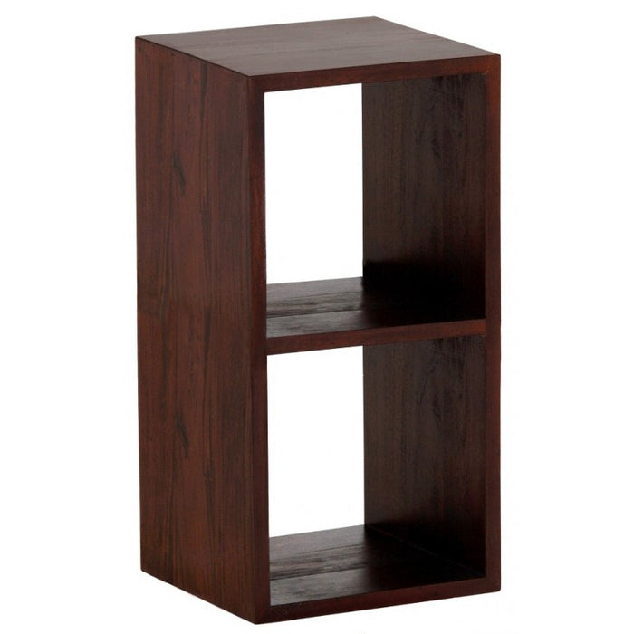 MP - Minimalist Teak Bookcase Display 2 Cube 2 Shelves Bookcase TEK168 CU 002 RPN ( Chocolate Colour )