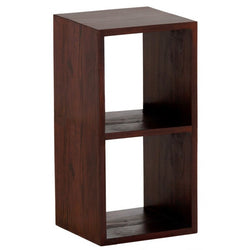 MP - Minimalist Teak Bookcase Display 2 Cube 2 Shelves Bookcase TEK168 CU 002 RPN ( Mahogany Colour )