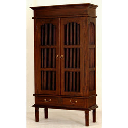 01 Member Special - Ruji Display Cabinet 3 Shelves 2 Slatted Door 2 Drawers Solid Wood TEK168DC 202 DW ( Mahogany Colour )