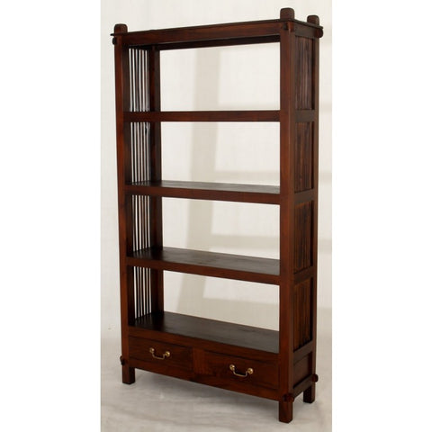 2 Drawer Diamond Open Bookcase Mahogany Colour bc_002_dmo_m_