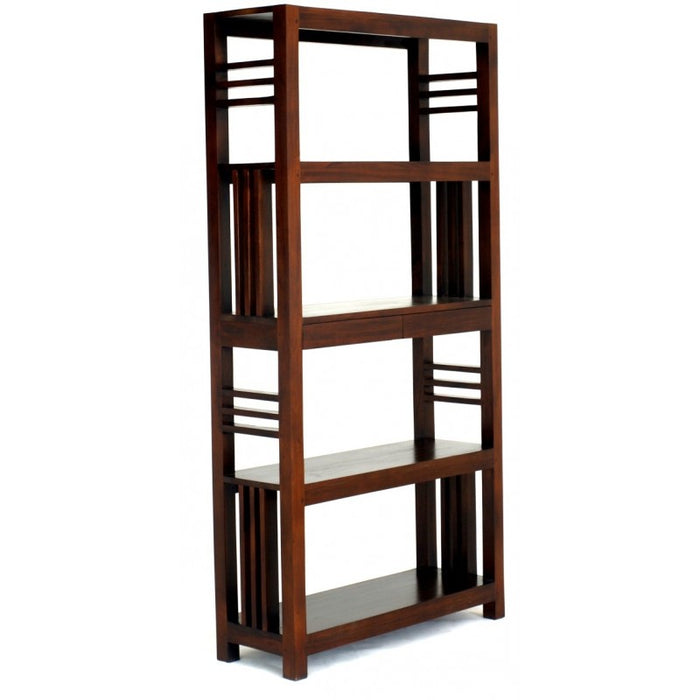 Amsterdam Bookcase Display 4 Shelves 2 Drawers Book Cabinet TEK168 BC 002 SLO ( Mahogany Colour )