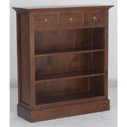 Tasmania Bookcase Low Profile 3 Shelves 3 Drawers Book Cabinet Mahogany Colour TEK168BC 003 PN