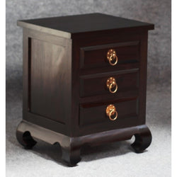 01 Member Special - China Shanghai Side Table 3 Drawer Bedside Night Stand TEK168 BS 003 OL RH ( Chocolate Colour )