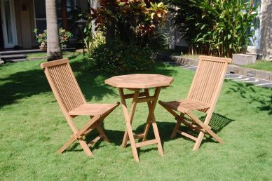 Outdoor Octogan Folding Table and 2 Folding Chair Set TEK168INX OCTOGAN FOLD Table 2 FOLD Chair Set