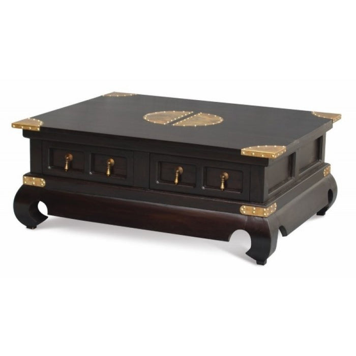 Chinese Oriental Coffee Table 4 Drawers Large Rectangular Design Curve Legs 100 cm x 80 cm TEK168 CT 004 SS  ( Black Colour )