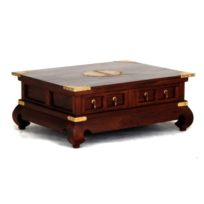 MP - Chinese Oriental Coffee Table Square 4 Drawers with Opium Legs 100 x 100 cm TEK168 CT 004 TS CSN ( Mahogany Colour )