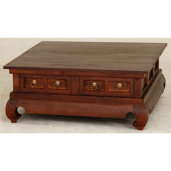 Chinese Oriental Coffee Table 4 Drawers Large Square Design Curve Legs 100 cm x 100 cm TEK168CT 004 TS ( Mahogany Colour )