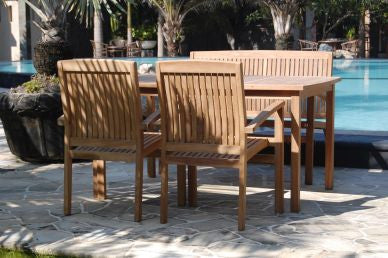 Outdoor Rectangular Table and 4 Stacking Chair Set TEK168INX RECT Table 4 STACK Chair Set