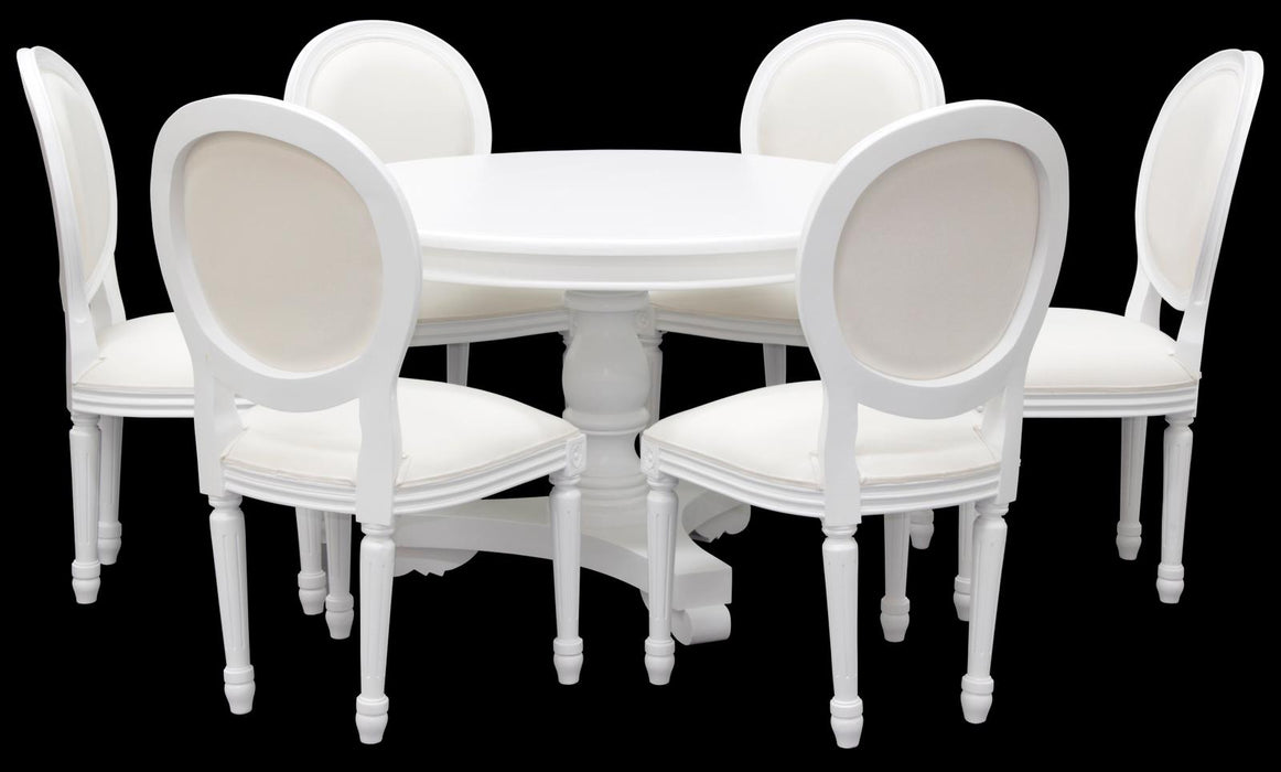 MP - Teak French Queen Anna 120 cm Round Dining Table with 4 Queen Ann Chair ( Round Shape )   ( Picture for Reference Only ) Table in( White Color ) Chairs in ( CB110DM Colour ) Sold as it is
