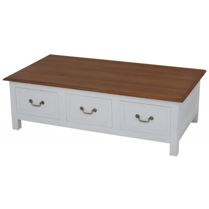 Tasmania 6 Drawer Straight Leg Coffee Table Large Rectangular Design 130 cm x 70 cm ( 130W 70D 40H ) TEK168 CT 006 KL ( White Colour )