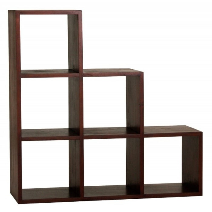 Minimalist Teak Cube Six Stairs Shelf Display Bookcase TEK168 CU 006 RPN ( Mahogany Colour )
