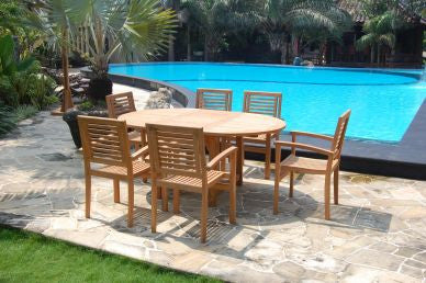 Outdoor Oval Table and 6 Stacking Chair TEK168INX TABLE and 6 STACK CHAIR SET