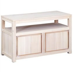 Amstel Solid Teak Wood Timber 2 Door TV Console Stand Unit, 97cm, White Wash TEK168TV-200-TA-WS_1