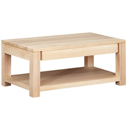 Amstel Solid Teak Wood Timber 2 Drawer Coffee Table, White Wash TEK168CT-002-TA-WS_1