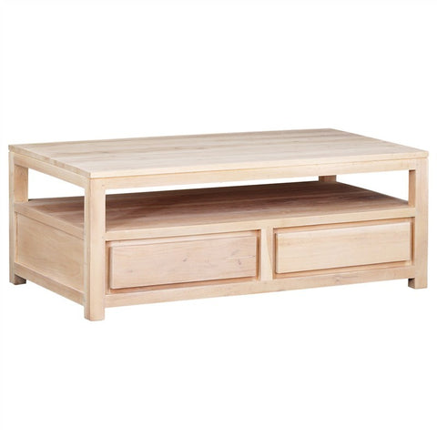 Amstel Solid Teak Wood Timber 4 Drawer Coffee Table, White Wash TEK168CT-004-TA-WS_1
