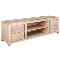 Amstel Solid Teak Wood Timber 4 Drawer TV Console Unit, 200cm, Cabinet Cupboard White Wash TEK168SB-004-TA-200-WS_1