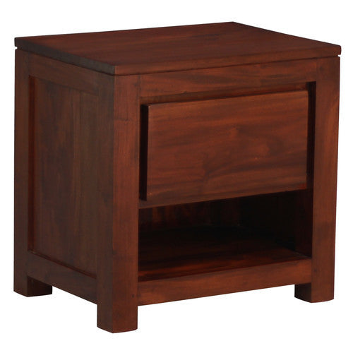 Amsterdam Bedside Table 1 Drawer Full Solid TEK168 BS 001 TA ( Chcocolate Colour )