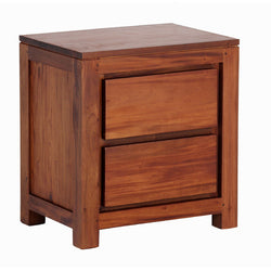 MP - Amsterdam 2 Drawer Bedside Table TEK168 BS 002 TA Side Table ( Light Pecan Colour )