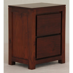 MP - Amsterdam 2 Drawer Bedside Table TEK168 BS 002 TA  Side Table ( Mahogany Colour )