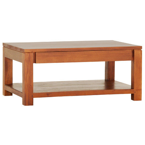 Assen Amsterdam Coffee Table with 1 Big Drawer and  Bottom Open Shelf Rectangular Design Full Solid TEK168 CT 002 TA ( Chocolate Colour )