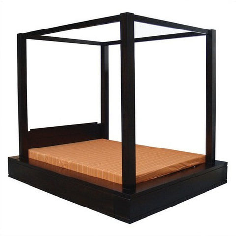 Amsterdam 4 Poster Bed Queen Size TEK168BS 400 PNM QS 153 x 193 Canopy Bed ( Picture Illustration Colour for Reference Only ) ( Mahogany Colour )