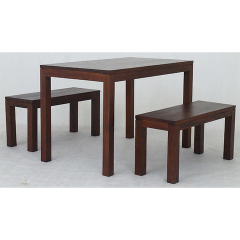 Amsterdam 5 Piece Dining Table Set 120 cm x 70 cm Special Package Set 1 Bench 90 cm and 2 Stool 48 cm TEK168 DT 120 70 TA Dining Table Set ( Picture for Reference Only ) ( Mahogany Color )