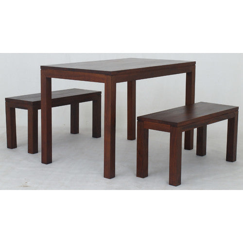 MP - Amsterdam 3 Piece Dining Table and 2 Bench Set 120 x 70 cm Special Package Set TEK168 DT 120 70 TA Set ( Mahogany Color )
