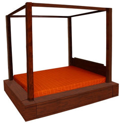 Amsterdam 4 Poster Bed Queen Size TEK168 BS 400 PNM QS 153 x 193 Canopy Bed ( Queen ) ( Mahogany Colour )