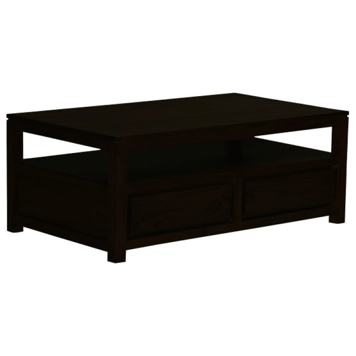 Amsterdam Coffee Table with 1 Open Shelf and 4 Drawers Square Design 100 x 100 cm Full Solid TEK168 CT 004 TA ( Picture Illustration Colour for Reference Only ) ( Light Pecan Colour )