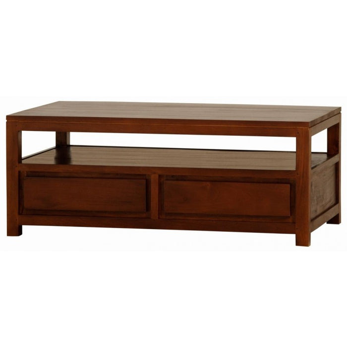 Amsterdam Coffee Table with 1 Open Shelf and 4 Drawers Rectangular Design Full Solid TEK168 CT 004 TA M ( White Colour )