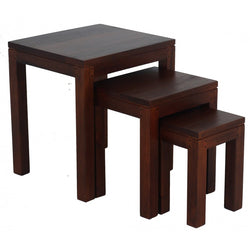 Amsterdam Nest of Table Set of 3, 3 Piece Solid Timber Nested Table Set,  45W 40D 50H TEK168NT-300-TA ( Mahogany  Colour )