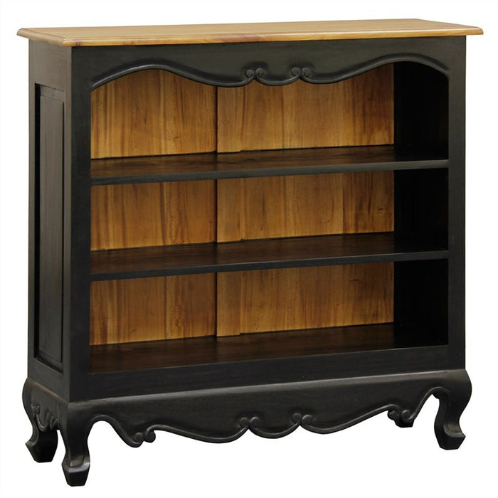 Bordeaux Queen AnnMary Solid  Timber Lowline Bookcase, Black / Caramel TEK168 BC 000 QA SM BLR