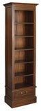 01 Member Special - Tasmania Bookcase Slim Design 6 Shelves 1 Drawer  Book Cabinet Bookshelves TEK168BC 001 DVD ( Mahogany Colour )