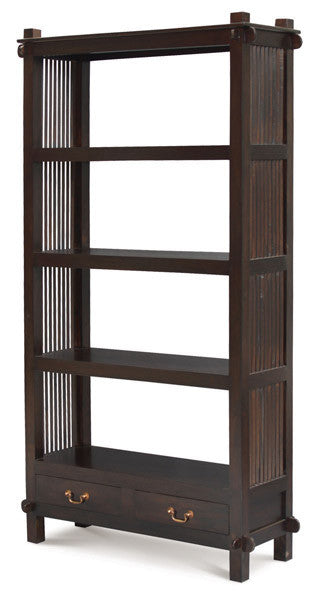 2 Drawer Diamond Open Bookcase Chocolate Colour bc_002_dmo_c_