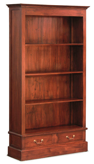 MP - Tasmania Bookcase 4 Shelves 2 Drawers Book Cabinet TEK168 BC 002 PN  ( Chocolate Colour ) ( Picture and Colour for Reference Only )