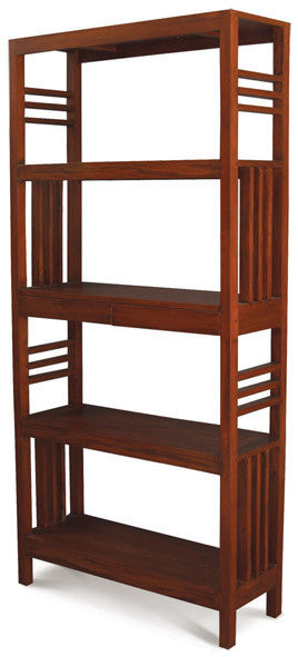 Amsterdam Bookcase Display 4 Shelves 2 Drawers Book Cabinet Light Pecan Colour TEK168 BC 002 SLO