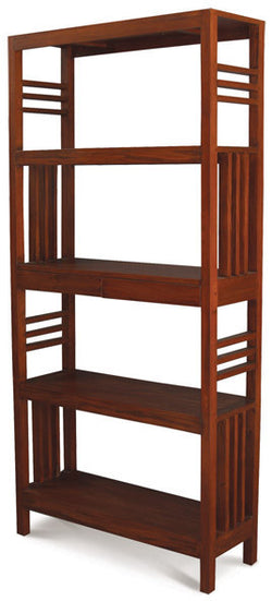 MP - Amsterdam Bookcase Display 4 Shelves 2 Drawers Book Cabinet TEK168 BC 002 SLO ( Picture for Reference Only ) ( Light Pecan Colour )