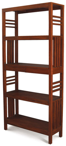 01 Member Special - Amsterdam Bookcase Display 4 Shelves 2 Drawers Book Cabinet TEK168BC 002 SLO ( Picture Illustration Colour for Reference Only ) ( Light Pecan Colour )