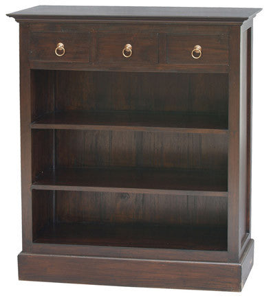 Member Special - Tasmania Bookcase Low Profile 3 Shelves 3 Drawers Book Cabinet Chocolate Colour TEK168 BC 003 PN
