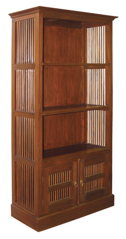 Ruji Bookcase 3 Shelves 2 Slatted Door Book Cabinet TEK168BC 200 DM