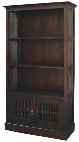 Ruji Bookcase 3 Shelves 2 Slatted Door Solid Wood Book Cabinet TEK168BC 200 DW ( Chocolate Colour )