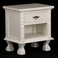 Jepara French Side Table 1 Drawer 1 Open Shelf TEK168 BS 001 CVPL ( Royal White Color )