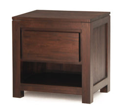 Amsterdam Bed Side Table 1 Drawer Full Solid TEK168BS 001 TA Mahogany Colour