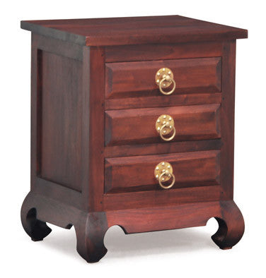 MP - China Shanghai Side Table 3 Drawer TEK168 BS 003 OL RH ( Shanghai Ring Handle ) ( Mahogany Colour )