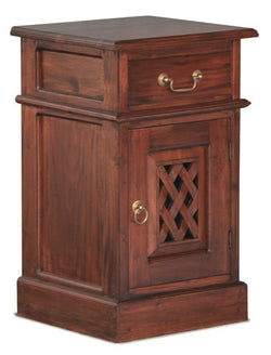MP - New York Side Table 1 Drawer 1 Door with Carvings  TEK168BS 101 CV ( Mahogany Colour )