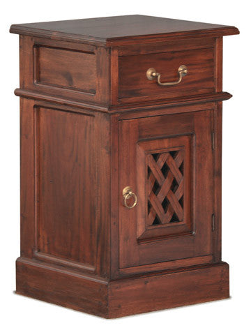 01 Member Special - New York Side Table 1 Drawer 1 Door with Carvings  TEK168BS 101 CV ( Light Pecan Colour )
