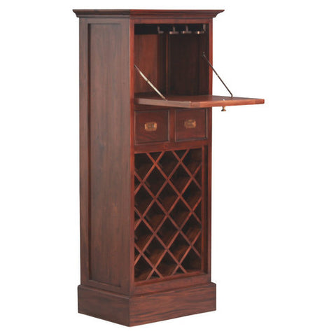 CAPITOLA Teak 1-Door-2-Drawer-Wine-Rack-with-Glass-Hanging-Bar Cabinet TEK168WR-102-PN