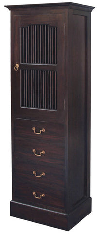 Ruji Bookcase Display 2 Shelves 1 Slatted Door 4 Drawers Solid Wood Book Cabinet TEK168CB 104 DW ( Chocolate Colour )