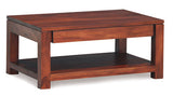 Assen Amsterdam Coffee Table with 1 Big Drawer and  Bottom Open Shelf Rectangular Design Full Solid TEK168CT 002 TA ( Mahogany Colour )
