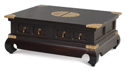 01 Member Special - Chinese Oriental Coffee Table 4 Drawers with Opium Legs TEK168CT 004 SS CSN ( Chocolate Colour )